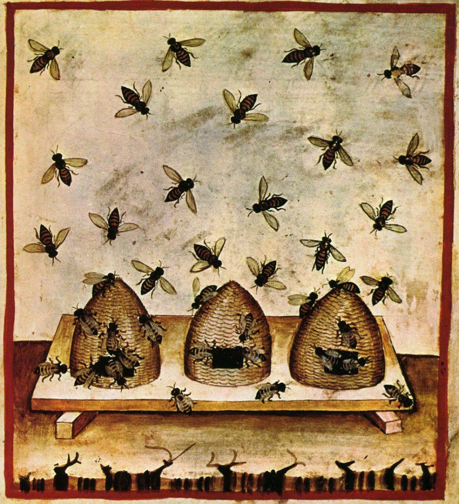 Geschichte der Imkerei - drei Bienenstöcke im Mittelalter