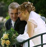 Brautpaar mit Kranz aus Myrthe